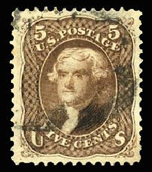 Price of US Stamp Scott 105 - 1875 5c Jefferson Without Grill. Cherrystone Auctions, Jul 2013, Sale 201307, Lot 28