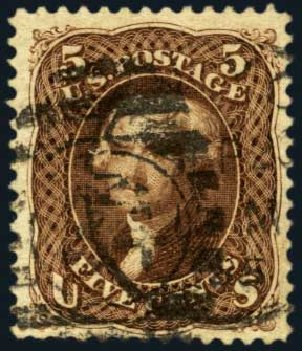 Price of US Stamp Scott # 105: 5c 1875 Jefferson Without Grill. Harmer-Schau Auction Galleries, Jan 2013, Sale 96, Lot 458