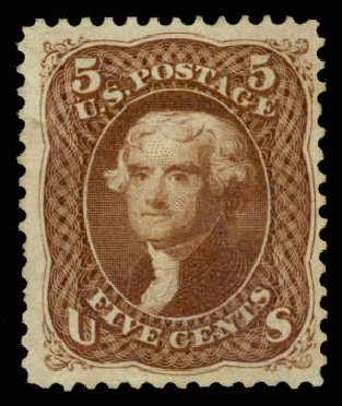 Prices of US Stamps Scott Catalog # 105: 1875 5c Jefferson Without Grill. Daniel Kelleher Auctions, Aug 2015, Sale 672, Lot 2328