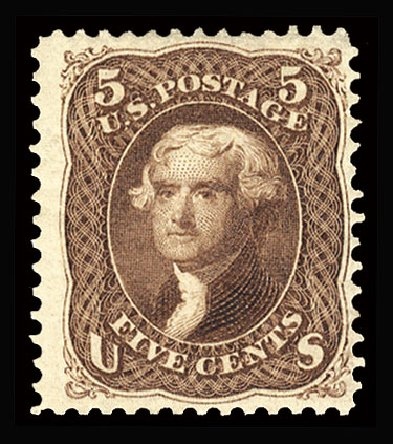 US Stamp Value Scott Catalog 105: 5c 1875 Jefferson Without Grill. Cherrystone Auctions, Mar 2013, Sale 201303, Lot 29
