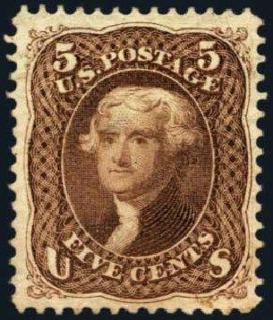 US Stamps Values Scott Cat. 105 - 1875 5c Jefferson Without Grill. Harmer-Schau Auction Galleries, Jan 2014, Sale 100, Lot 459