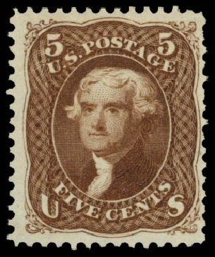 Values of US Stamps Scott #105: 1875 5c Jefferson Without Grill. Daniel Kelleher Auctions, Dec 2014, Sale 661, Lot 109