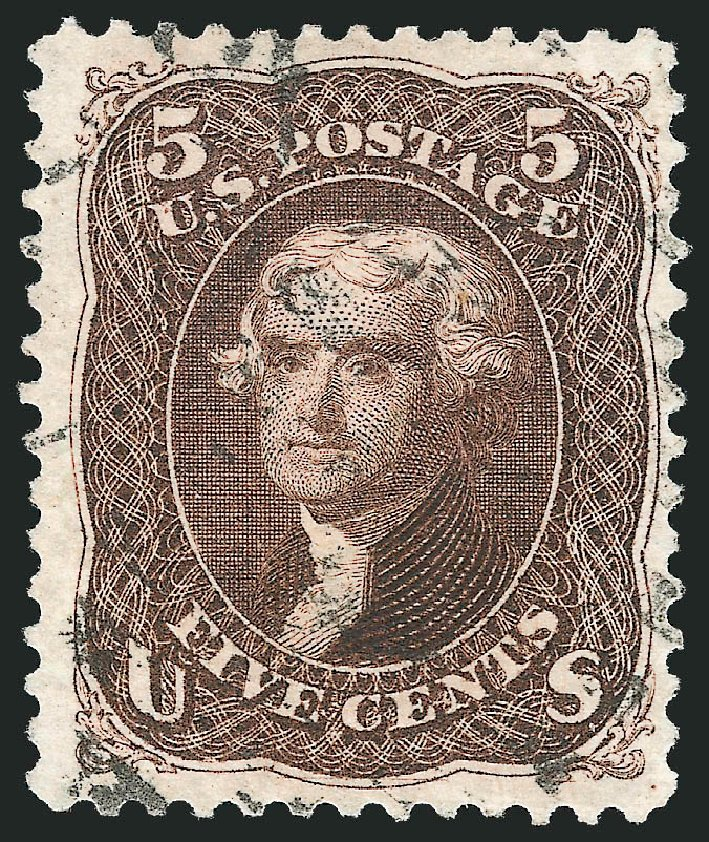 Costs of US Stamps Scott # 105: 5c 1875 Jefferson Without Grill. Robert Siegel Auction Galleries, Dec 2012, Sale 1037, Lot 1639