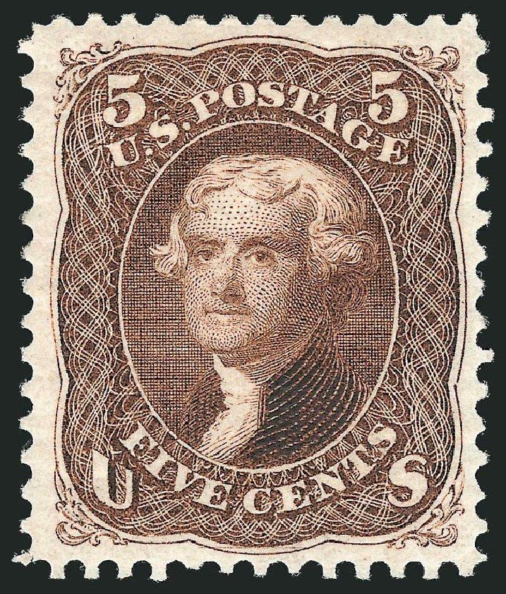 US Stamp Prices Scott Catalogue 105 - 5c 1875 Jefferson Without Grill. Robert Siegel Auction Galleries, Nov 2013, Sale 1057, Lot 670