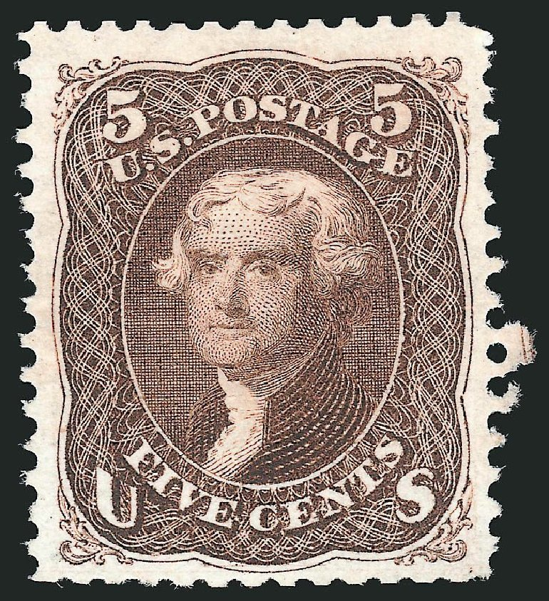 US Stamp Price Scott Catalogue #105: 1875 5c Jefferson Without Grill. Robert Siegel Auction Galleries, Oct 2014, Sale 1082, Lot 390
