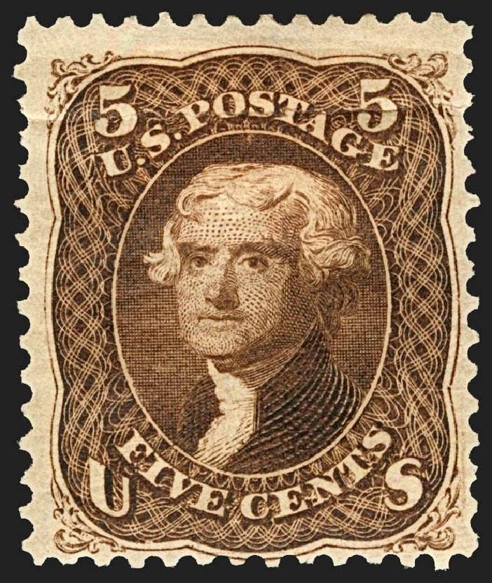 US Stamps Price Scott Catalogue #105: 5c 1875 Jefferson Without Grill. Robert Siegel Auction Galleries, Jul 2015, Sale 1107, Lot 221