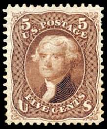 Price of US Stamps Scott #105: 1875 5c Jefferson Without Grill. Schuyler J. Rumsey Philatelic Auctions, Apr 2015, Sale 60, Lot 2074