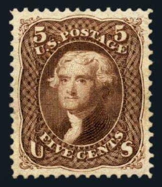 US Stamp Prices Scott Catalog 105: 1875 5c Jefferson Without Grill. Harmer-Schau Auction Galleries, Aug 2014, Sale 102, Lot 1743