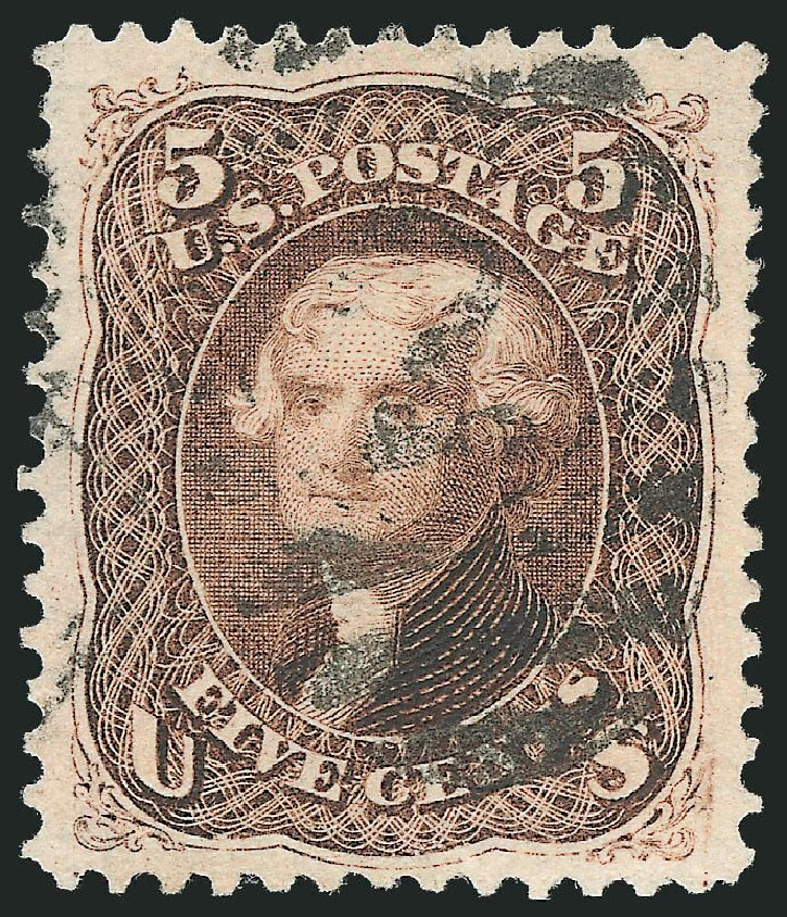Cost of US Stamps Scott Cat. 105: 5c 1875 Jefferson Without Grill. Robert Siegel Auction Galleries, Jun 2012, Sale 1024, Lot 173