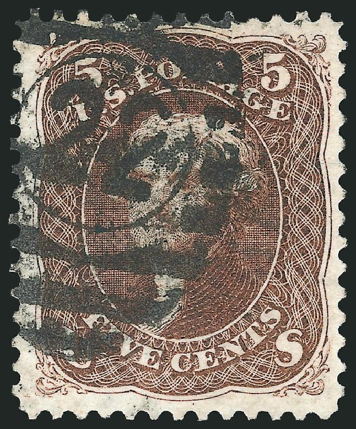 US Stamps Prices Scott Cat. #105: 5c 1875 Jefferson Without Grill. Robert Siegel Auction Galleries, Nov 2014, Sale 1084, Lot 3303