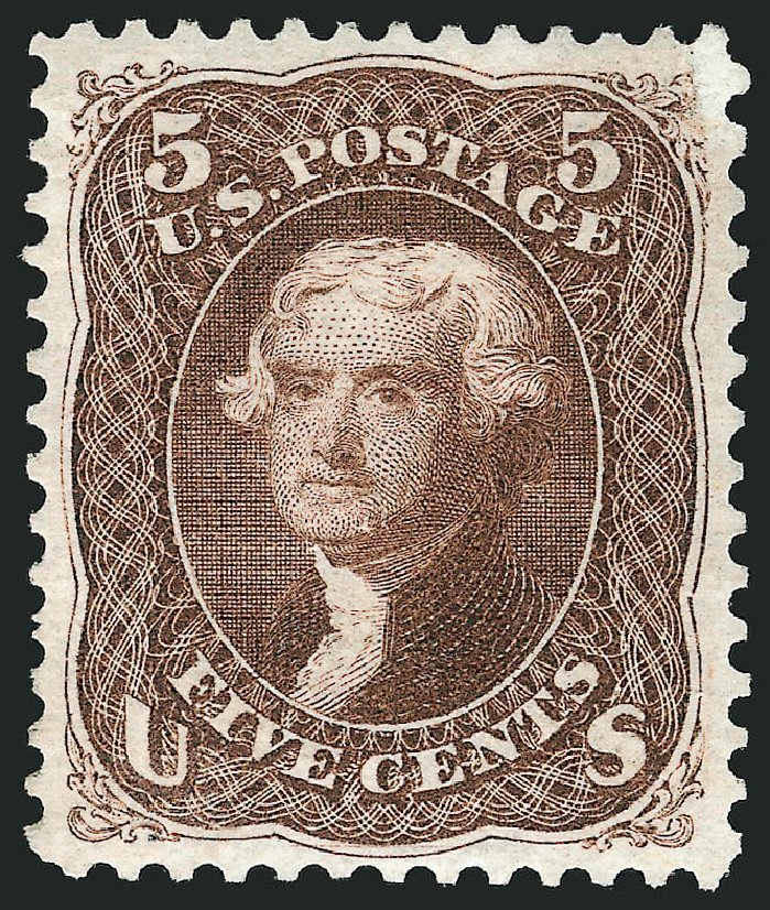 Values of US Stamps Scott Catalogue 105: 1875 5c Jefferson Without Grill. Robert Siegel Auction Galleries, Apr 2015, Sale 1096, Lot 203