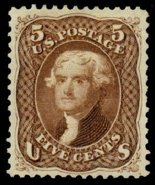 Price of US Stamps Scott # 105: 1875 5c Jefferson Without Grill. Daniel Kelleher Auctions, Sep 2013, Sale 639, Lot 386