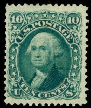 US Stamp Values Scott Catalog #106: 10c 1875 Washington Without Grill. Daniel Kelleher Auctions, Apr 2013, Sale 636, Lot 128