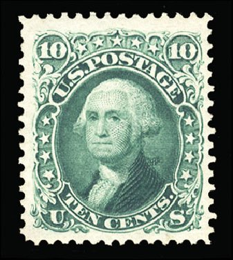 US Stamp Value Scott Cat. # 106 - 1875 10c Washington Without Grill. Cherrystone Auctions, Mar 2015, Sale 201503, Lot 5