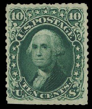 US Stamps Value Scott Catalog #106 - 1875 10c Washington Without Grill. Daniel Kelleher Auctions, Aug 2012, Sale 631, Lot 802