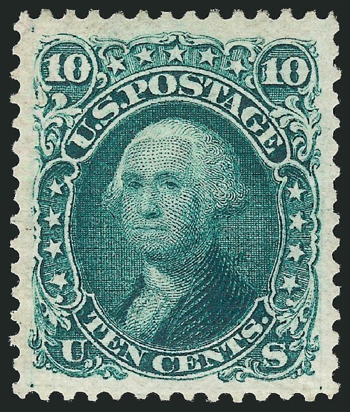 US Stamps Values Scott Catalog 106 - 1875 10c Washington Without Grill. Robert Siegel Auction Galleries, May 2013, Sale 1044, Lot 92