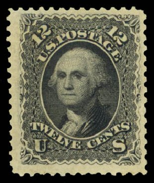 US Stamp Values Scott Catalog # 107: 1875 12c Washington Without Grill. Daniel Kelleher Auctions, Aug 2015, Sale 672, Lot 2330