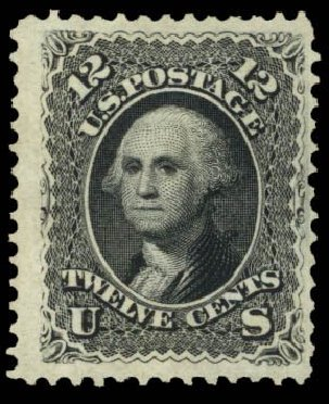 Values of US Stamps Scott Catalog #107: 1875 12c Washington Without Grill. Daniel Kelleher Auctions, Mar 2014, Sale 650, Lot 2554