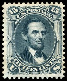 Prices of US Stamp Scott Catalogue 108: 1875 15c Lincoln Without Grill. Schuyler J. Rumsey Philatelic Auctions, Apr 2015, Sale 60, Lot 2077
