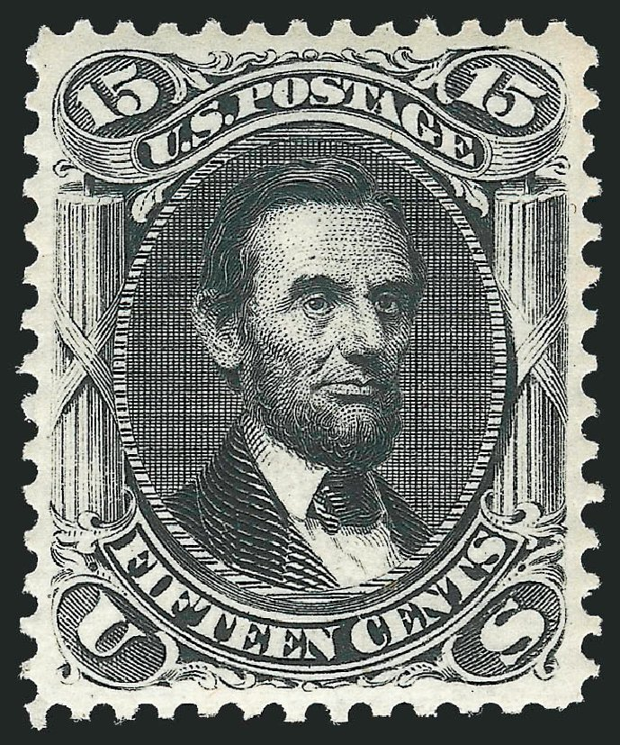 Values of US Stamps Scott Cat. # 108: 1875 15c Lincoln Without Grill. Robert Siegel Auction Galleries, Feb 2015, Sale 1092, Lot 1077