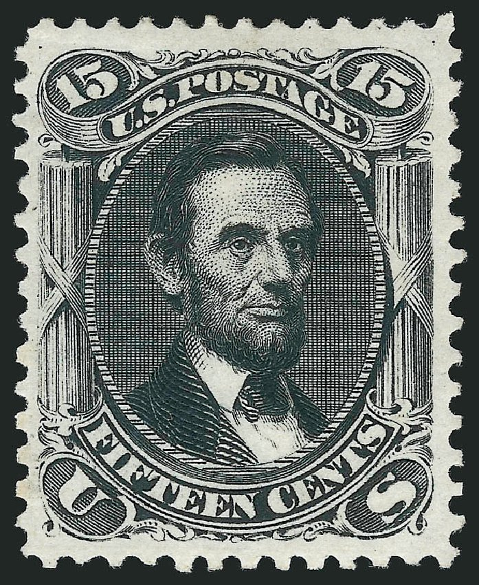 Costs of US Stamps Scott Catalog 108 - 1875 15c Lincoln Without Grill. Robert Siegel Auction Galleries, Jun 2015, Sale 1106, Lot 3108