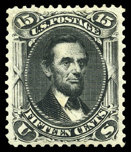 US Stamp Prices Scott Catalogue 108: 1875 15c Lincoln Without Grill. Matthew Bennett International, May 2014, Sale 350, Lot 190