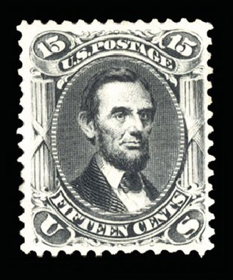 Values of US Stamp Scott Catalogue # 108 - 15c 1875 Lincoln Without Grill. Cherrystone Auctions, Jun 2014, Sale 201406, Lot 50