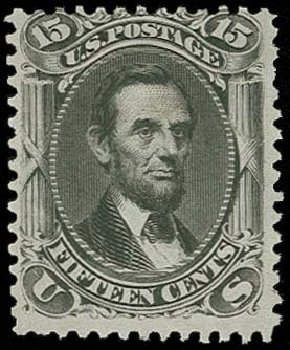 Prices of US Stamp Scott Catalog # 108 - 1875 15c Lincoln Without Grill. H.R. Harmer, Oct 2014, Sale 3006, Lot 1160