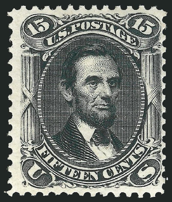 US Stamps Prices Scott Cat. #108 - 1875 15c Lincoln Without Grill. Robert Siegel Auction Galleries, Dec 2014, Sale 1090, Lot 1250