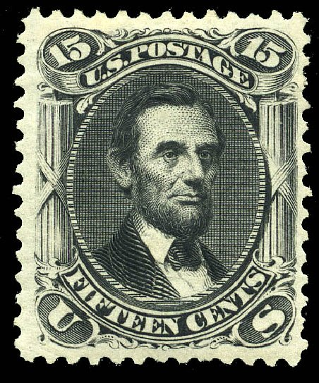 Value of US Stamp Scott Catalogue 108: 1875 15c Lincoln Without Grill. Matthew Bennett International, May 2014, Sale 350, Lot 191