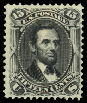 US Stamp Prices Scott 108 - 15c 1875 Lincoln Without Grill. Daniel Kelleher Auctions, Dec 2014, Sale 661, Lot 111