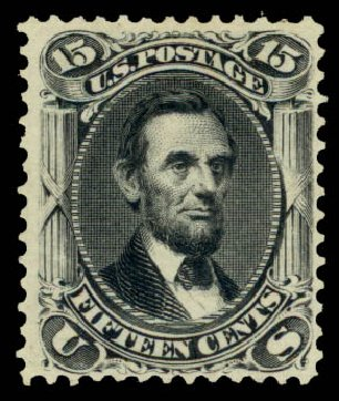 Costs of US Stamp Scott 108: 15c 1875 Lincoln Without Grill. Daniel Kelleher Auctions, Aug 2015, Sale 672, Lot 2331