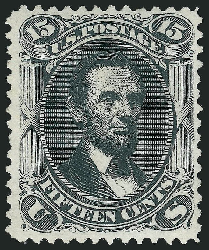 Price of US Stamps Scott Catalogue #108: 1875 15c Lincoln Without Grill. Robert Siegel Auction Galleries, Dec 2014, Sale 1090, Lot 1251