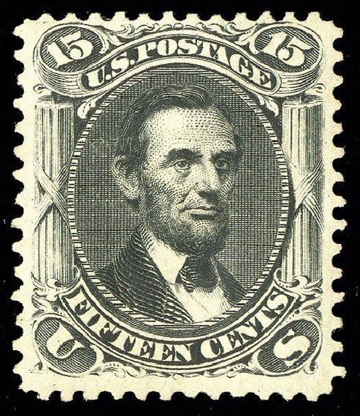 Costs of US Stamp Scott Catalogue 108 - 15c 1875 Lincoln Without Grill. Spink Shreves Galleries, May 2014, Sale 148, Lot 151