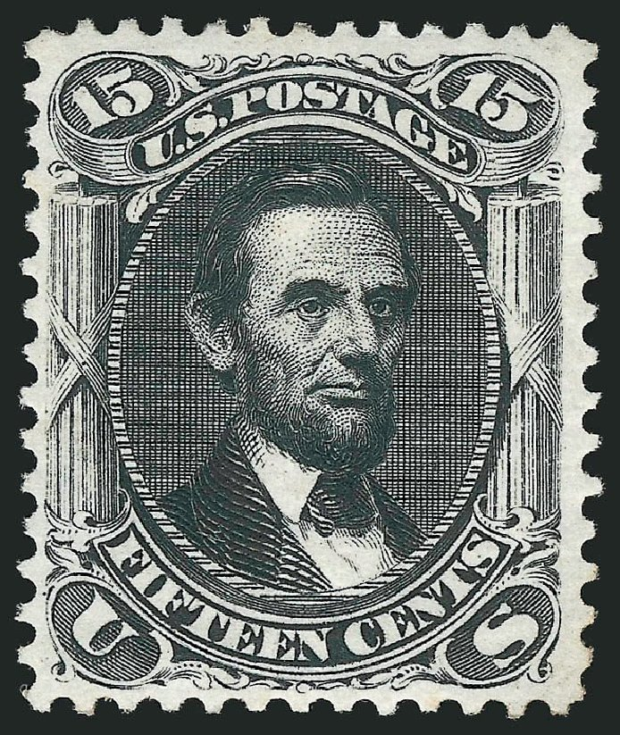 US Stamps Value Scott Catalog #108 - 1875 15c Lincoln Without Grill. Robert Siegel Auction Galleries, Sep 2014, Sale 1078, Lot 214