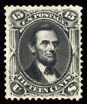 US Stamp Prices Scott Catalogue #108 - 1875 15c Lincoln Without Grill. Cherrystone Auctions, May 2015, Sale 201505, Lot 15
