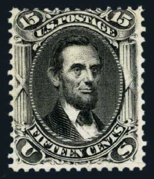 US Stamps Values Scott Catalogue 108 - 1875 15c Lincoln Without Grill. Harmer-Schau Auction Galleries, Aug 2014, Sale 102, Lot 1745