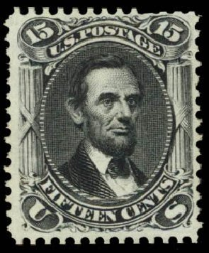 US Stamps Price Scott Catalogue # 108 - 15c 1875 Lincoln Without Grill. Daniel Kelleher Auctions, Mar 2014, Sale 650, Lot 2555