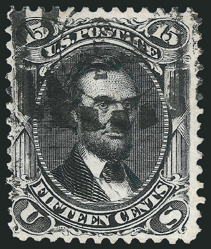 US Stamps Values Scott #108 - 1875 15c Lincoln Without Grill. Robert Siegel Auction Galleries, Dec 2013, Sale 1062, Lot 295