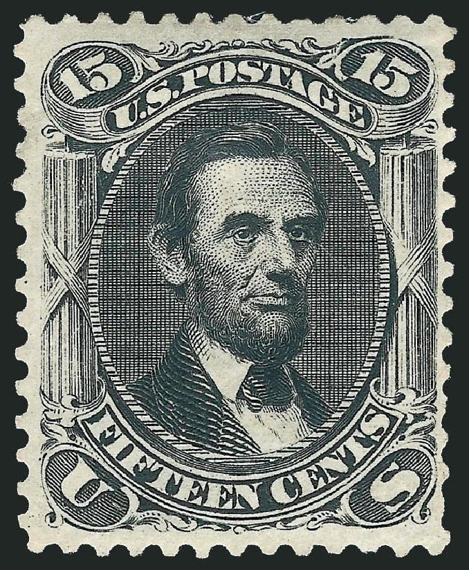 US Stamp Values Scott Catalog #108 - 15c 1875 Lincoln Without Grill. Robert Siegel Auction Galleries, Mar 2014, Sale 1067, Lot 1095