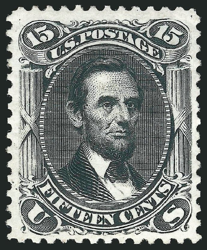 Price of US Stamps Scott Cat. 108: 1875 15c Lincoln Without Grill. Robert Siegel Auction Galleries, Nov 2013, Sale 1057, Lot 673