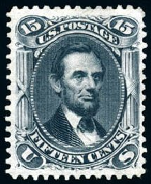 US Stamp Prices Scott Cat. 108 - 1875 15c Lincoln Without Grill. Schuyler J. Rumsey Philatelic Auctions, Apr 2015, Sale 60, Lot 2076