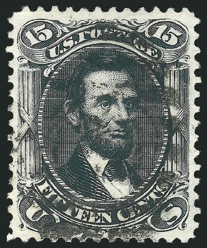 Costs of US Stamp Scott Cat. # 108 - 1875 15c Lincoln Without Grill. Robert Siegel Auction Galleries, Nov 2014, Sale 1084, Lot 3306
