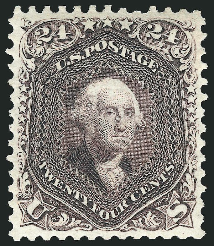 Values of US Stamps Scott Catalog 109: 24c 1875 Washington Without Grill. Robert Siegel Auction Galleries, Apr 2015, Sale 1096, Lot 207