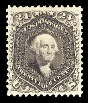 US Stamp Value Scott 109: 24c 1875 Washington Without Grill. Cherrystone Auctions, Sep 2014, Sale 201409, Lot 21