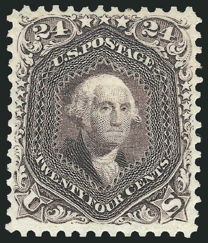 US Stamps Prices Scott #109 - 24c 1875 Washington Without Grill. Robert Siegel Auction Galleries, Dec 2014, Sale 1090, Lot 1254