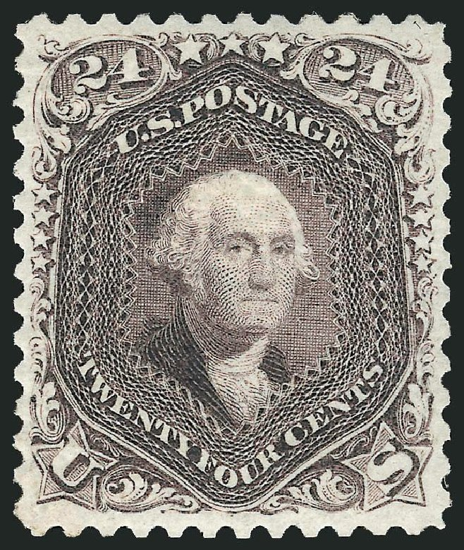 Price of US Stamp Scott Catalogue # 109 - 1875 24c Washington Without Grill. Robert Siegel Auction Galleries, Dec 2014, Sale 1090, Lot 1253