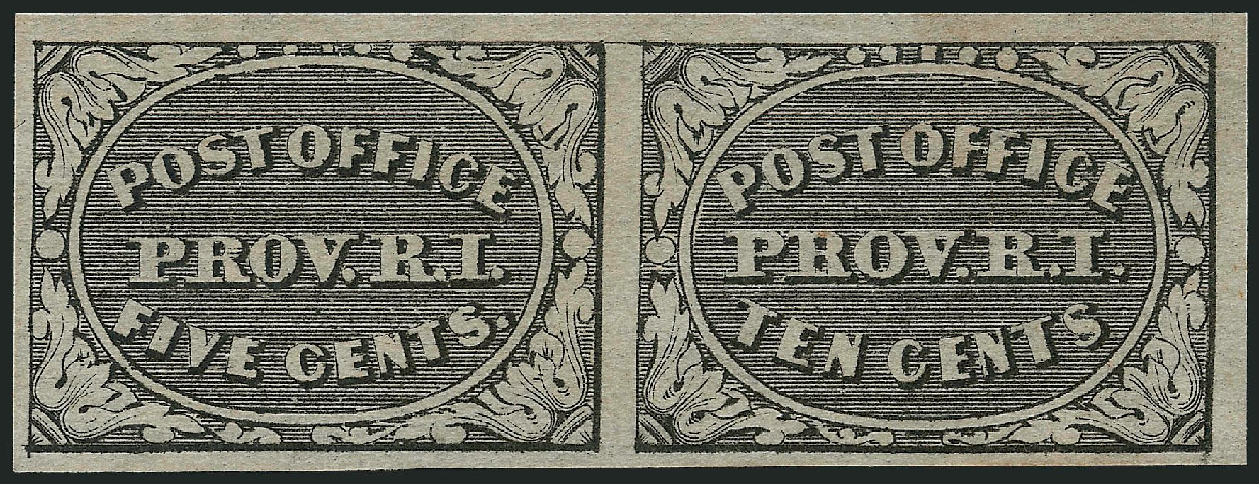 Prices of US Stamp Scott Catalogue 10X2: 5c 1846 Providence Postmasters Provisional. Robert Siegel Auction Galleries, Jul 2014, Sale 1077, Lot 31