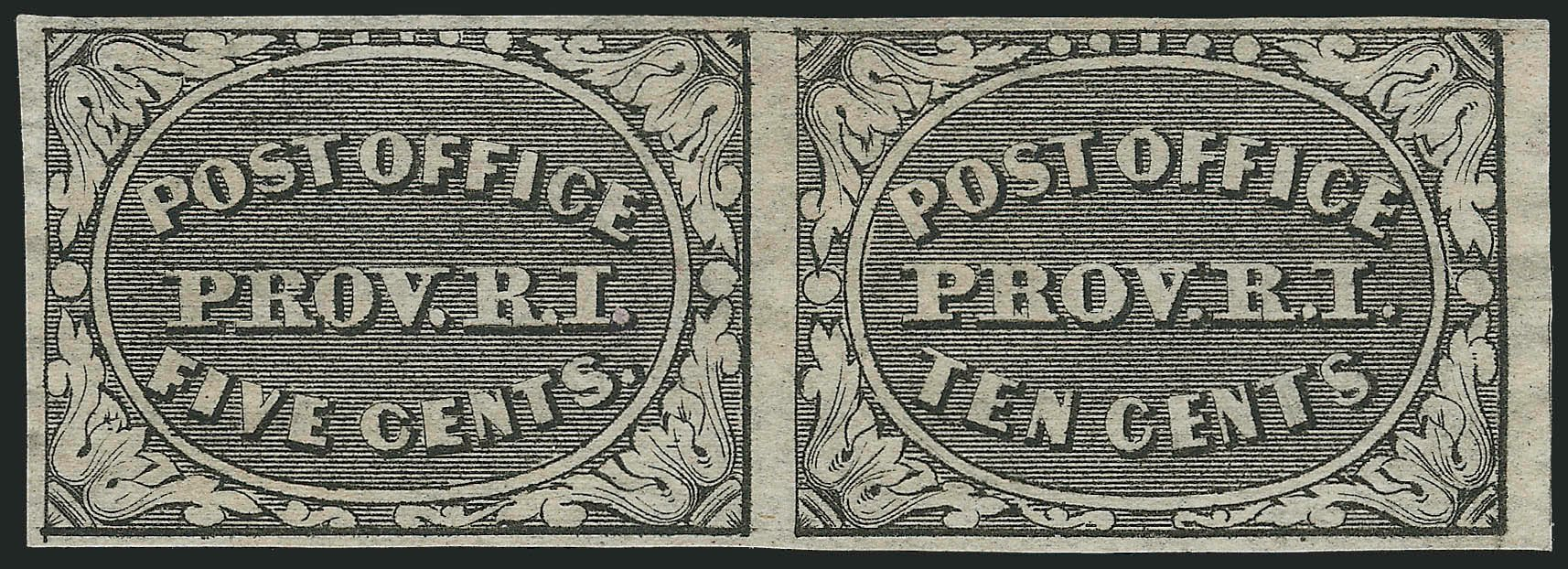 Value of US Stamps Scott Cat. 10X2: 1846 5c Providence Postmasters Provisional. Robert Siegel Auction Galleries, Nov 2013, Sale 1061, Lot 3314