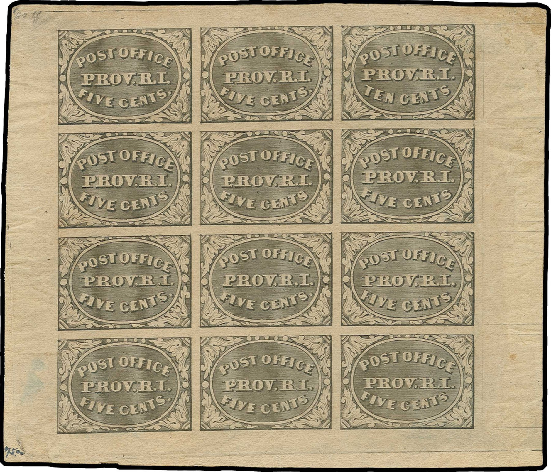 US Stamp Price Scott Catalogue 10X2: 5c 1846 Providence Postmasters Provisional. H.R. Harmer, Jun 2013, Sale 3003, Lot 1003